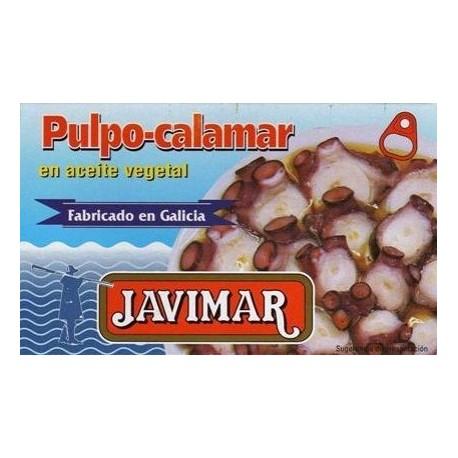 Poulpe / calamar à l'huile végétale